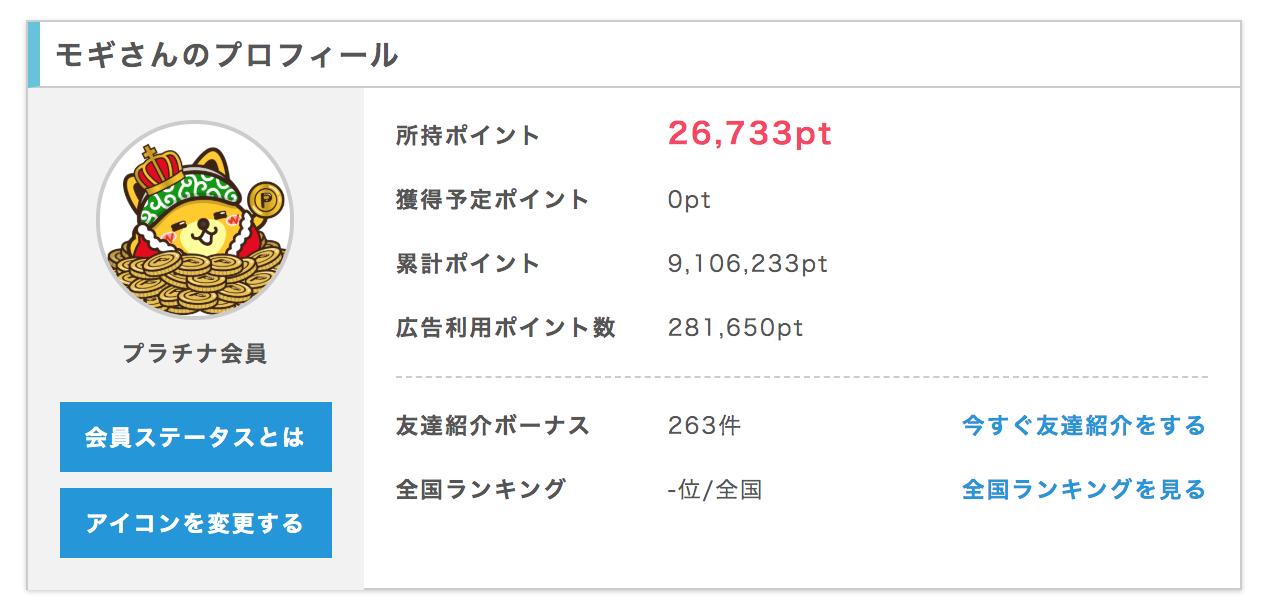 ポイントインカムで90万円稼いだ実績画像
